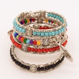 Jewelry - Beaded Stacked Bracelets Feather Charm